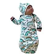 C&M Newborn Infant Baby Girls Boy Cartoon Dinosaur Pajamas Gown Swaddle Hats 2Pcs Outfits (White, 0-6 Months)