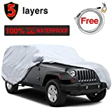 5 Layers Waterproof Jeep Cover for Jeep Wrangler 4 Door 2007-2017, Windproof Scratch Resistant Sun UV All Weather Car Covers, Windproof Ribbon & Anti-theft Lock