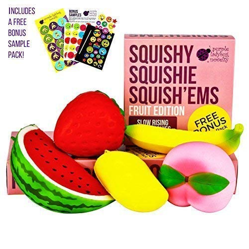 Purple Ladybug Novelty Slow Rising Jumbo Fruit SQUISHIES Pack in a Gift Box: Watermelon, Peach, Strawberry, Banana & Mango Kawaii Squishy Toys or Stress Balls - Squishys are Great Sensory Toys! ()
