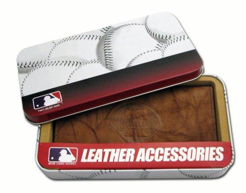 Philadelphia Baseball Phillies Leather (MLB Philadelphia Phillies Embossed Genuine Cowhide Leather Checkbook Cover)