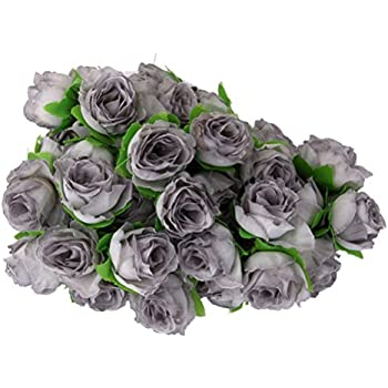 ROSENICE 50pcs Rose Flower Head Wedding Party Decoration Artificial Grey