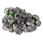 ROSENICE-50pcs-Rose-Flower-Head-Wedding-Party-Decoration-Artificial-Flower-Grey
