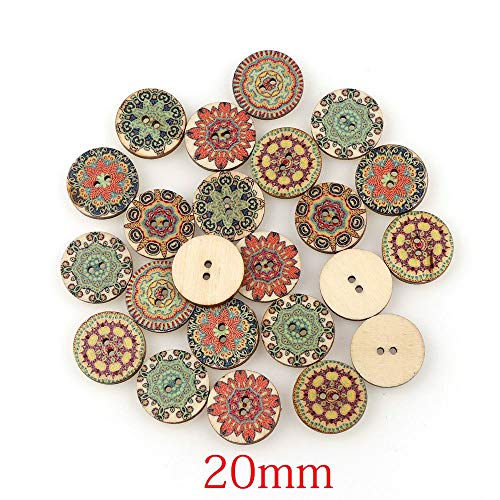 Alexlove 50Pcs Mixed Wood Buttons Vintage Colorful Flowers Scrapbooking Sewing Craft 20Mm Random Mixed Handmade Clothes Decor Buttons Mix 50pcs1