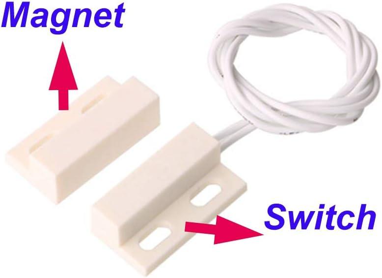 Gebildet 5pcs Einbau Verdrahtete Sicherheit Fenster Tor Kontakt Sensor Alarm,Magnetschalter Wei/ß,Magnetischer T/ürsensor,Schlie/ßer Magnetschalter mit 20pcs Schraube+10pcs Aufkleber