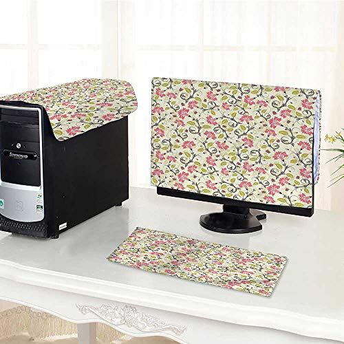 Jiahonghome Computer dustproof Three-Piece Curving Flower Design with Ladybugs andFeatures Small Beetles for LED LCD Screens Flat Panel HD Display /18