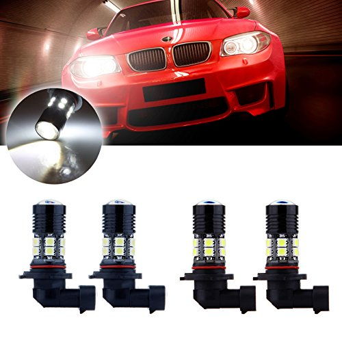 cciyu 4 Pack 9005+9006 Combo 60W 6000K Xenon White Cree LED 12 SMD Headlight Bulbs High Power