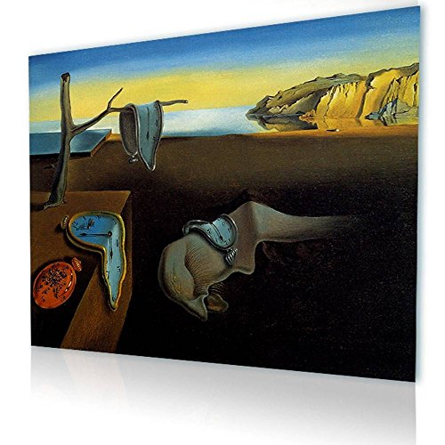 (Alonline Art - The Persistence Of Memory Melting Clock by Salvador Dali | print on canvas | Ready to frame (synthetic, Rolled) | 27