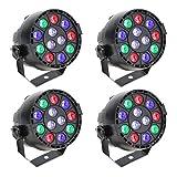 4PCS Lixada DMX-512 LED PAR Light 12LED RGBW 15W Sound Activated Stage Lighting Strobe Professional 8 Channel DJ Party Disco Show