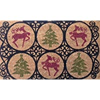 Christmas Holiday Welcome Mat, Reindeer and Christmas Trees, All Natural Coir Fiber with Anti-Slip PVC Backing, 18x30