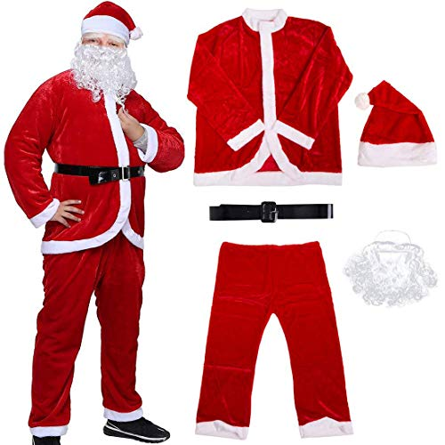Men's Santa Suit, Plush Red Christmas Santa Claus Costumes for Adult 5 pc