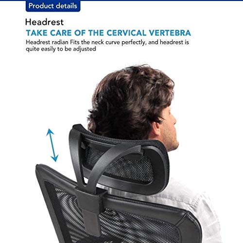Smugdesk Ergonomic Office Chair Adjustable Headrest Mesh Office Chair Office Desk Chair Computer Task Chair (Black) - 2579 by Smugdesk (Image #4)