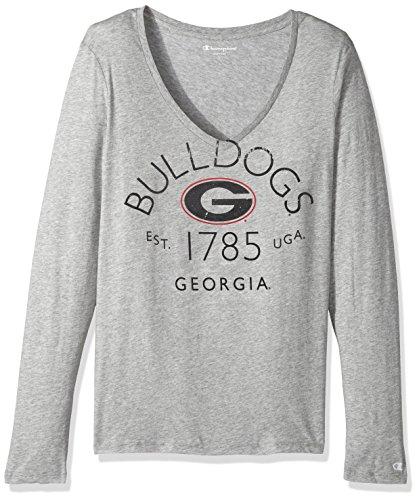 University Bulldogs Ncaa Georgia (Champion NCAA Georgia Bulldogs Women's University Long Sleeve V-Neck Gray Tee, Medium, Oxford Heather)