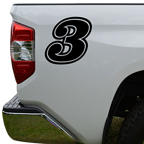 (Racing Race Number 3 Three Style 15 Die Cut Vinyl Decal Sticker For Go Kart Car Truck Motorcycle Window Bumper Wall Decor Size- [10 inch/25 cm] Tall Color- Gloss White)
