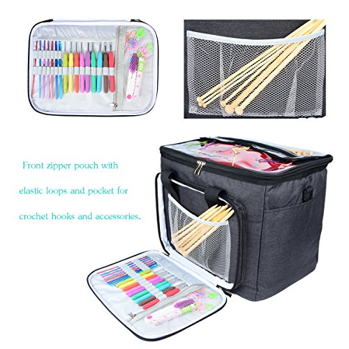 """Hoshin Knitting Bag for Yarn Storage, High Capacity Yarn Totes Organizer with Inner Divider Portable for Carrying Project, Knitting Needles(up to 14""""), Crochet Hooks, Skeins of Yarn (Black) by Hoshin (Image #2)"""