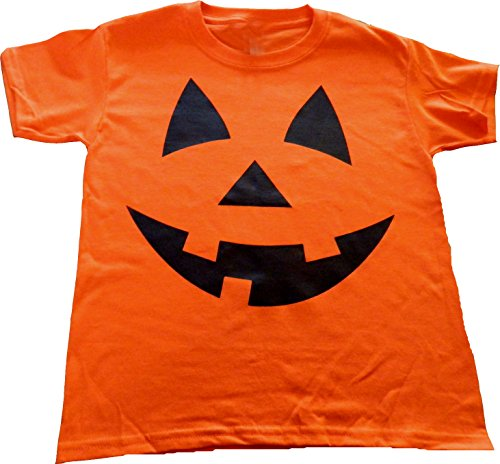 Custom Kingdom Adult Mens/Womens Pumpkin Face Halloween T-Shirt (XL, Orange) - Adult Pumpkin Outfit