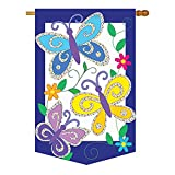 Cheap Two Group – Triple Butterflies Garden Friends – Everyday Bugs & Frogs Applique Decorative Vertical House Flag 28″ x 44″