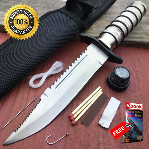 10'' Tactical Fishing Hunting Survival KIT Knife w Sheath Bowie Camping Compass For Hunting Tactical Camping Cosplay + eBOOK by MOON KNIVES