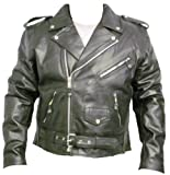 Mens Black Leather Motorcycle Jacket - Leatherbull (Free U.S. Shipping)