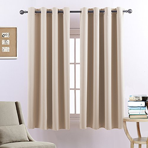 Bedroom Blackout Curtains Panels – Easy Care Solid Thermal Insulated Grommet Blackout Panels / Drapes For Living Room (52″ x 84″, Set of 2 Panels, Beige) Review