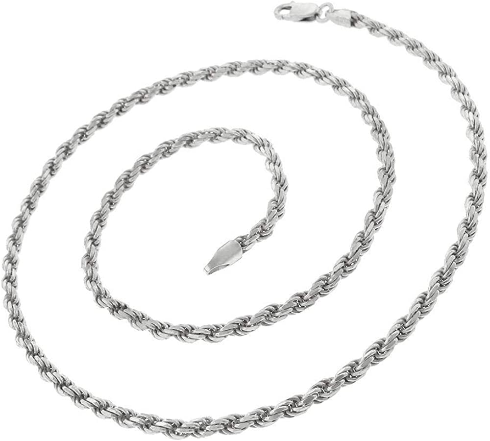 5.5MM Men /& Women 16-30 Made In Italy Authentic Solid Sterling Silver Rope Diamond-Cut Braided Twist Link .925 Rhodium Necklace Chains 1.5MM Next Level Jewelry