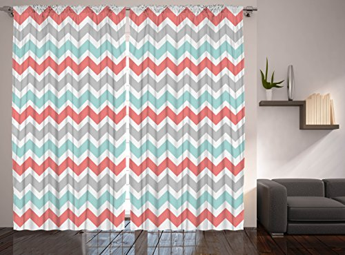 Better Curtains Chevron Curtains Striped Curtains, 2 Panel Set, Coral White Turquoise Gray (Coral And Turquoise Curtains)
