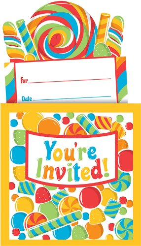 8-Count Pop-Up Style Party Invitations, Sugar Buzz