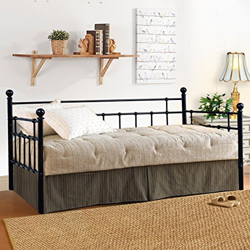 Twin Size Metal Framed Daybed Steel Slat Platform Base with Headboards by HomeRecommend