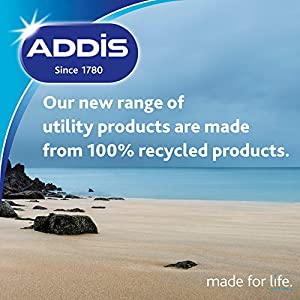 Addis Eco Made from 100% Recycled Plastic Large Rectangular Washing Up Bowl, 9.5 Litre, Light Grey