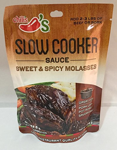 Chili's Slow Cooker Sauce Sweet & Spicy Molasses - Pack of 4 (10oz Each Bag)