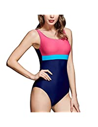 HAIVIDO Women's Scoop Back One Piece Swimsuit for Athletic Sports Training Exercise