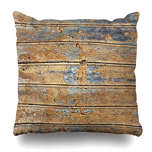 Ahawoso Throw Pillow Cover Square 18x18 Wood Brown Architectural Orange Weathered House Color Wall Abstract Barn Board Carpentry Side Zippered Cushion Case Home Decor Pillowcase