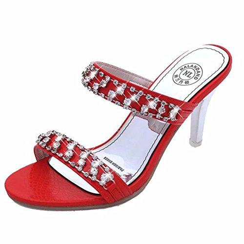 L'Eau Chaussons de Sandales Mariage Femmes Red YUCH Forage pour Banquet de Élégantes xHAqAI7f