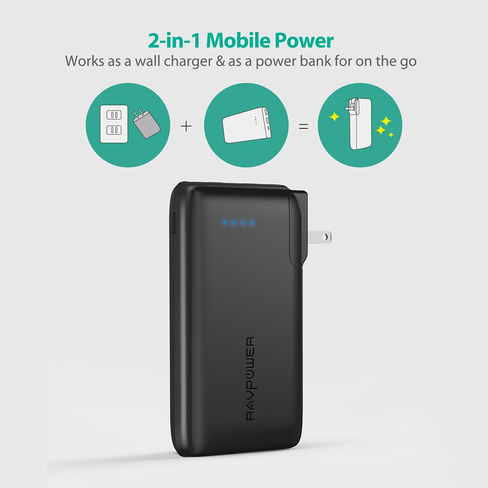 Portable Charger 10000 RAVPower 2-in-1 Wall Charger and Power Bank, 10000mAh Capacity with AC Plug, Dual iSmart 2.0 USB Ports, 3.4A Max Output for iPhone X, iPhone 8, iPad, Samsung Galaxy and More by RAVPower (Image #2)