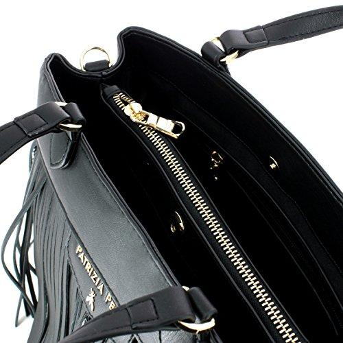 Borsa Patrizia Pepe pelle nera con frangie e paillet argento larg. 30 cm alt. 23 cm alt. manico 10 cm