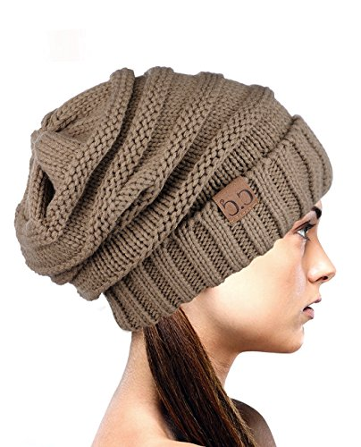 NYFASHION101 Exclusive Oversized Baggy Slouchy Thick Winter Beanie Hat - Taupe