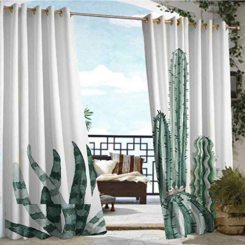 Price comparison product image Andrea Sam Outdoor Balcony Privacy Curtain Cactus (2), W96 xL96 for Front Porch Covered Patio Gazebo Dock Beach Home