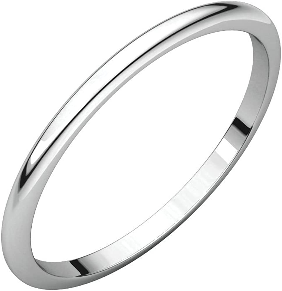 Jewels By Lux 14K White Gold 1.5mm Half Round Wedding Ring Band