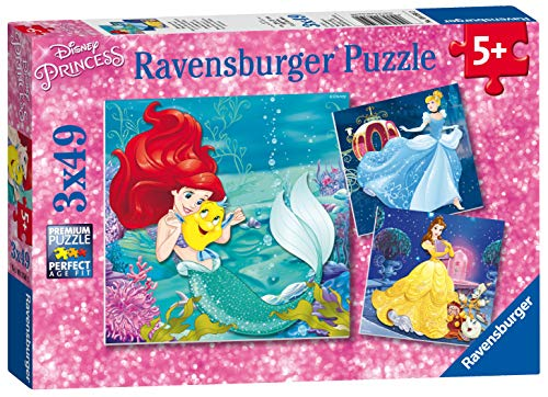 (Ravensburger 09350 Disney Princesses - 3 X 49 Piece Jigsaw Puzzles - Value Set of 3 Puzzles in a Box - Every Piece is Unique, Pieces Fit Together Perfectly)
