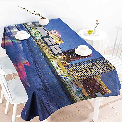 EwaskyOnline Outdoor Tablecloth Rectangular,City Resort Casinos on Shore at Night Atlantic City New Jersey United States,Dinner Picnic Table Cloth Home Decoration,W52x70L, Violet Blue Pink Yellow]()