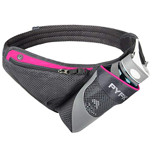 PYFK Running Belt Hydration Waist Pack with Water Bottle Holder for Men Women Waist Pouch Fanny Bag Reflective Fits iPhone 6/7 Plus (Rose) ()