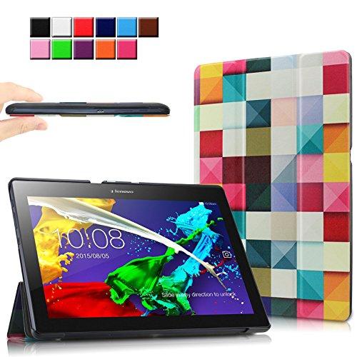 Infiland Lenovo Tab 2 A10-70 / Tab 2 A10-30 / Tab 3 10 Business Hülle Case, Ultra Dünn Tri-Fold Smart-Muschel PU Leder Schutzhülle für Lenovo Tab 2 A10-70 / Tab 2 A10-30 / Tab 3 10 Business 10,1 Zoll Tablet (mit Auto Schlaf / Wach Funktion)(Farbige Quadrate)