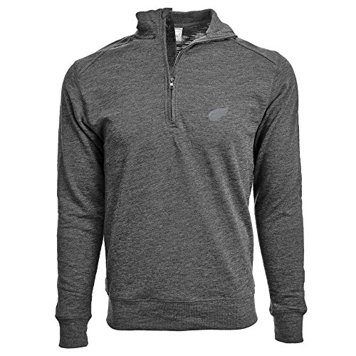 Levelwear NHL Detroit Red Wings Men's Hudson Faux Show Text Quarter Zip Pullover, Medium, Heather Charcoal