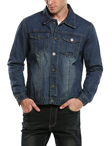 HOTOUCH Men's Fashion Cotton Denim Jackets Light Blue XXL