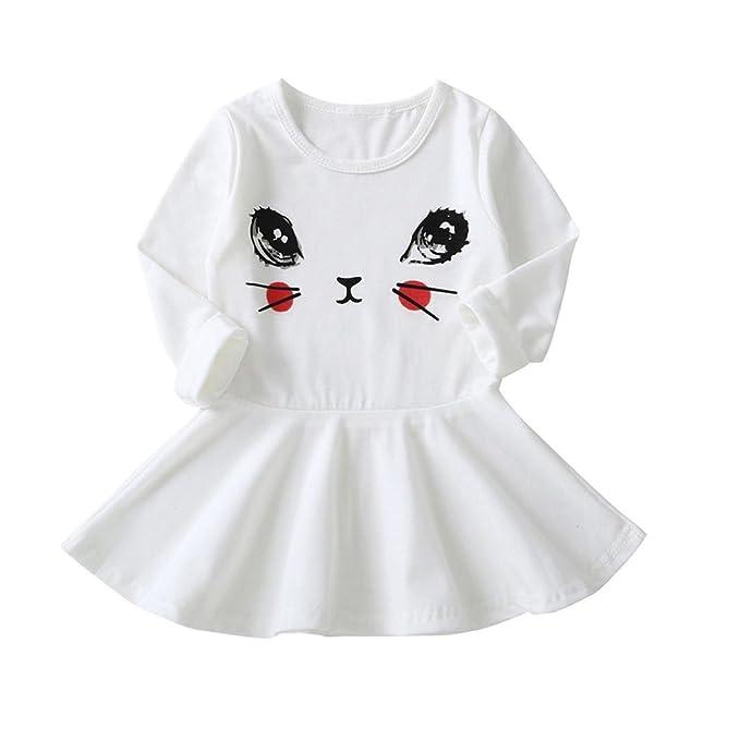 PAOLIAN Vestidos para Bebe Niñas Otoño 2018 Vestidos Plisada Niñas Manga Larga Estampado Dibujos Animados Ojos