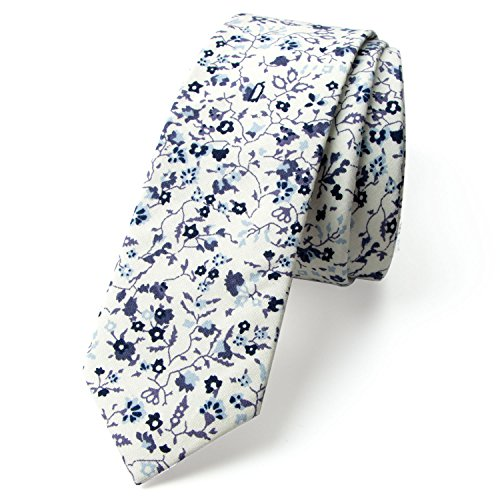Spring Notion Men's Floral Print Cotton Skinny Tie, 03-Ivory Blue