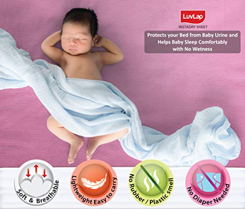 LuvLap Instadry Extra Absorbent Dry Sheet/Bed Protector – Baby Pink, 0m+ – Small 50 x 70cm