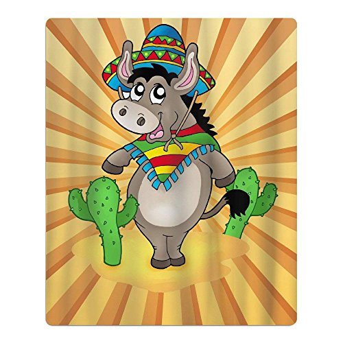 X-Large Mexican Donkey with Cactuses Quick-Drying Pool Beach Towel Travel Bath Towel for Kids by X-Large