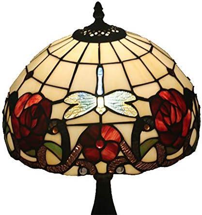 花ステンドグラススタイルテーブルランプベッドルームランプベッドサイドランプ[エネルギークラスA +]と12インチヴィンテージパストラルトンボ WELSUN (Size : Antique Resin Base)