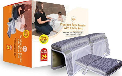 Baby Bath Kneeler and Elbow Rest- 24'' Extra Long, Made with Neoprene and Memory Foam, 1.5'' Extra Thick for Maximum Comfort with 6 Strong Suction Cups to Hold arm Rest in Place. by Cradle Plus