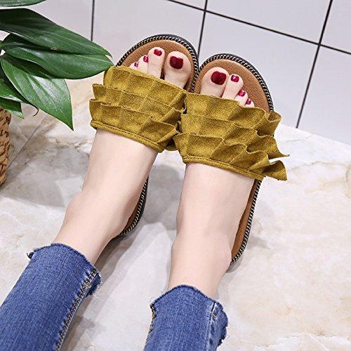 Zapatillas Lace Alumnas Plano Y De Casa De La Arrastrar Zapatos Soltar Fresca Amarillo Zapatillas Verano Palabra De Mujer Fondo GAOLIM Zapatos xnWOgwg